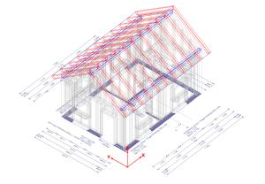 Moduł konstrukcja dachu – geometria pomocnicza w kolorze szarym