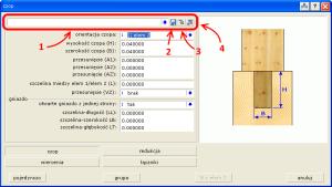 Okno definicji parametrów połączenia na czop