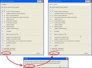 Okno importu oraz zapisu profilu użytkownika