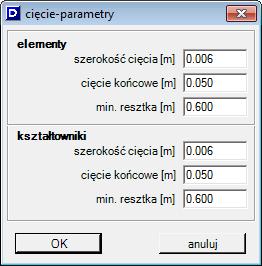 cięcie - parametry