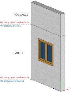 Górna krawędź ściany - poziom odniesienia - DK kondygnacji górnej