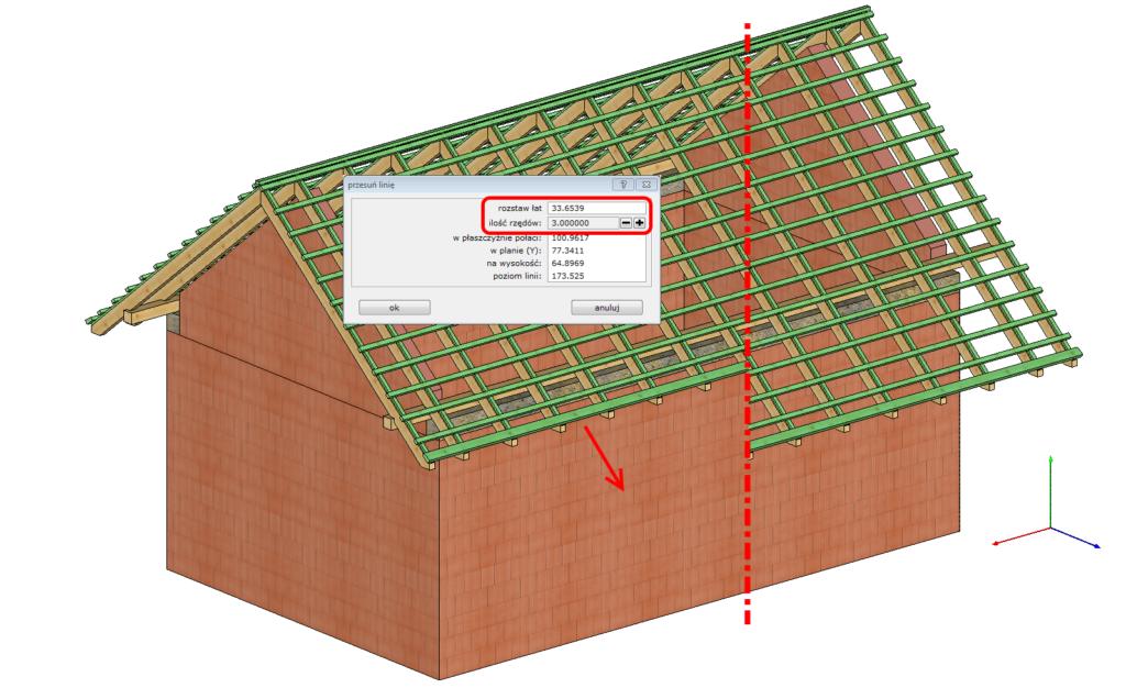 wydłużanie okapu dachu w oparciu o ilość dachówek