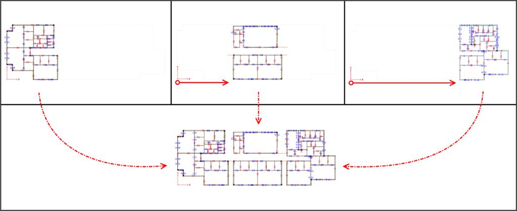 scalanie fragmentów budynku
