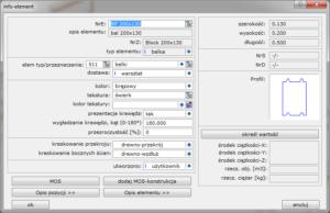 Okno Info - element kluczowe informacje o cechach elementu
