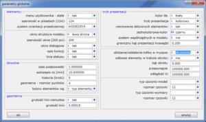 D-CAM - Parametry globalne - powiększanie/zmniejszanie modelu