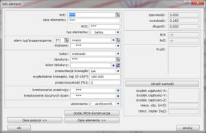 Okno Info - element  grupa elementów o różnych cechach
